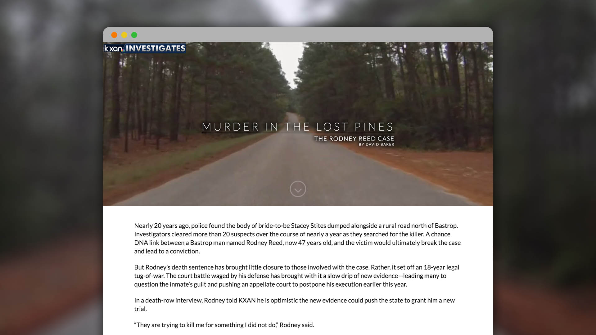 "KXAN Investigates – ""Murder in the Lost Pines"" Web Special"